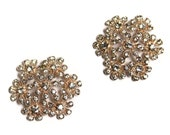 Rhinestone Button, golden floral 30mm- set of four