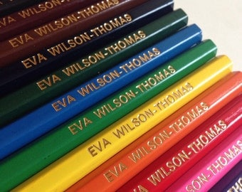 12 Personalised Colouring Pencils - Custom Printed with your name or website