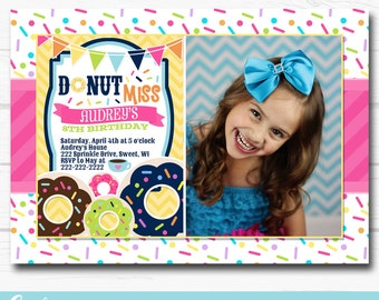 "Diy Personalized Sprinkles""Donut Shoppe"" Photo Birthday Party Digital Printable 5""x7"" Invitation"