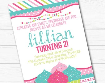 "Diy Personalized ""Cupcakes & Sprinkles"" Baking Girl Birthday Party Digital Printable 4""x6"" or 5""x7"" Invitation"
