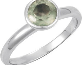 925 Sterling Silver Prehnite Stackable Ring Size 7