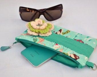Mermaid clutch, makeup bag, clutch purse, clutch wallet, zipper clutch, boho fashion, pleated clutch, wristlet, pouch, nautical clutch