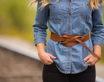 Wrap Belt - Genuine Leather Belt - Leather Belt with Front Knot - Womans Leather Belt / Betsy Belt