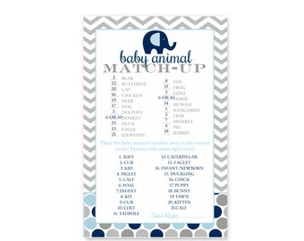 Navy Elephant Baby Shower Animal Match Up Game Card - Instant Download - Fun Activity - Polka Dots & Grey Chevron