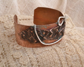Wrinkled Copper & Sterling  Bracelet .  Free Shiping In US and Canada