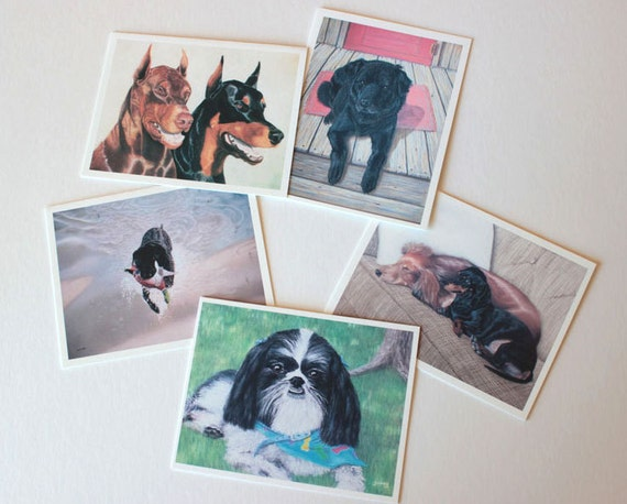 Set 2 Dog Art Fine Art, box of 10 w/envelopes, Blank Greeting Cards, note cards, small gift, dogs, canine art, dog paintings