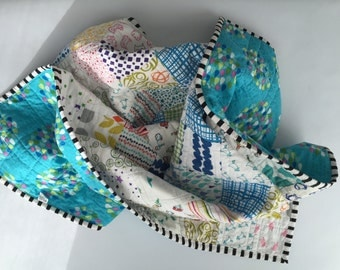 SALE Modern Patchwork Baby Quilt - Blue Backing