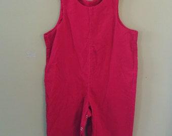 Vintage red corduroy overalls jumper romper 2t Valentine's Day