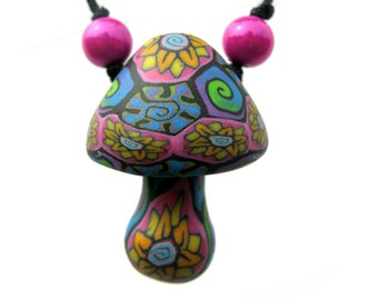 Mushroom pendant, millefiori flower and spiral patterns, handmade hippie psychadelic mushroom necklace, polymer clay, one of a kind