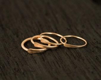 Rose Gold Filled Nose ring / Cartilage hoop/ tragus hoop / single hammered hoop