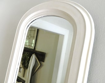 Vintage White Mirror Arched Wood Frame