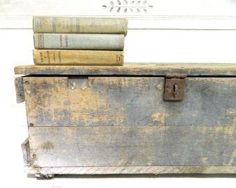 Vintage Wood Box Trunk Gray Weathered Worn Large Storage Box