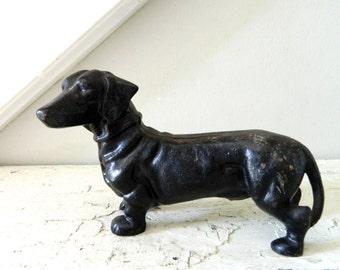 Vintage Cast Iron Dachshund Wiener Dog Bank