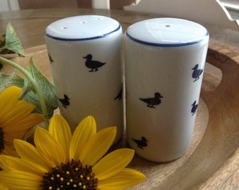 Shafford Preppy White Salt and Pepper Shakers with Navy Blue Ducks