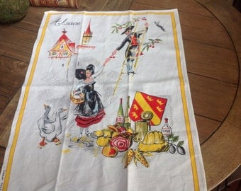 Vintage French Alsace Tea Towel Made in France by Creation Vony
