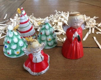 Five Little Vintage Chirstmas Bell Ornaments form the 1940s Japan Two Angels and Three Christmas Trees