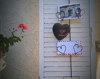 mail rack, heart letter rack, photo holder, photo rack,