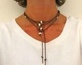Leather Pearl Lariat Necklace, Choker, Bracelet, Wrap Jewelry, Greek Leather Y Necklace, Boho Style