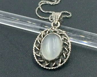 SALE Vintage Moonstone Sterling Silver Pendant, Arts and Crafts Moonstone Silver Necklace,Handmade Moonstone  Pendant NOW 99.00 WAS 120.00