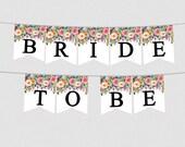 Floral Bridal Shower Banner - Printable Bridal Shower Banner - Floral Flowers Bridal Shower Sign - Pennant Signs - Floral Décor Bridal 0001W