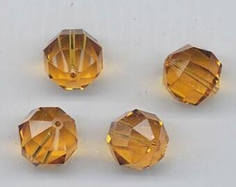 Six very rare vintage Swarovski crystals - Art. 5009 - topaz - 14 mm
