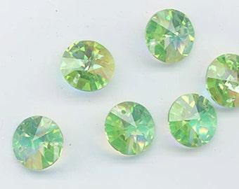 Twelve vintage Swarovski rivoli pendant crystals - (art. 21/6200) - Art. 21 - 12 mm - peridot AB