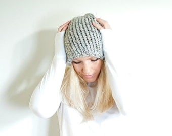 PRE-FALL SALE the Lenoir hat - chunky knit womens slouchy hat beanie - grey marble