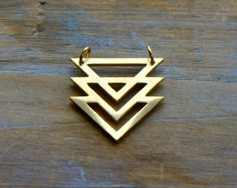 Geometric Chevron Charm Link Brushed 24k Gold Plated Stainless Steel Geometric Layered Charm Minimal Jewelry Pendant (AS011)