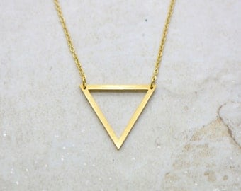 Small Triangle Outline Necklace, Brushed 24k Gold Plated Stainless Steel, Dainty Minimal Pyramid Layering Layered Long Necklaces