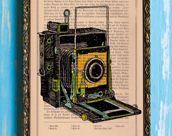 Karl Addison Multicolored Land Camera Artwork Print on an Unframed Upcycled Bookpage