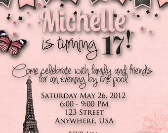 Paris Theme Birthday Party Invitation