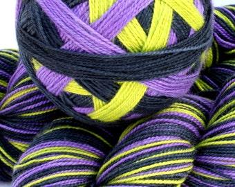 "Self Striping Sock Yarn, Merino/Nylon Sock yarn, in ""Wicked (with a twist)"""