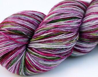 "Kettle Dyed Sock Yarn, Superwash Merino and Nylon 75/25 Fingering Weight, in ""Hellebore"""