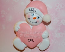 Personalized Granddaughter's First Christmas Snowbaby Ornament