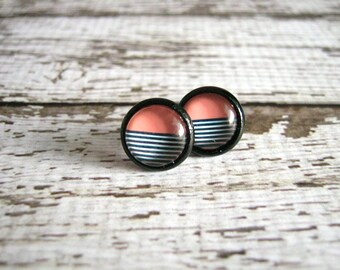 Peach Black Stud Earrings : Half Tone Jewelry