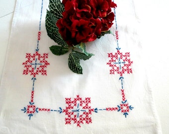 Vintage Table Runner or Dresser Scarf,  Shelf or Mantle Scarf, Hand Embroidered with Red and Blue Vintage Linens by TheSweetBasilShoppe