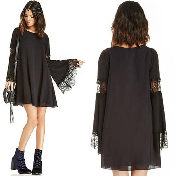 Bell Sleeve Dress Black Shift Dress Lace Bell Sleeves A Line boho witch goth gypsy Angel Sleeve Chiffon Hippie Oversized loose Flare Dress