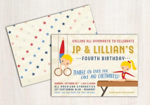 Gymnastics Double Birthday Invite - Boy and Girl Gymnast Party Invitation