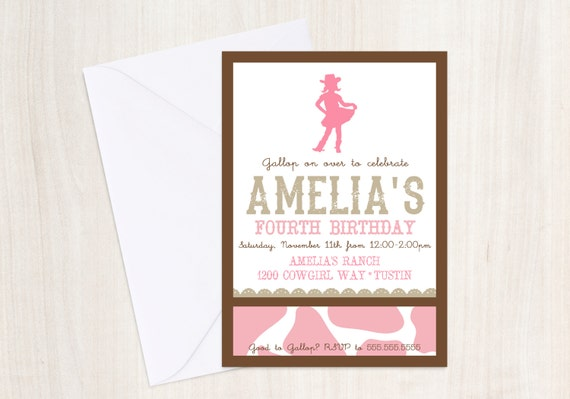 Cowgirl Birthday Party Invite - Cow girl Invitation - Western Party - Party Supplies