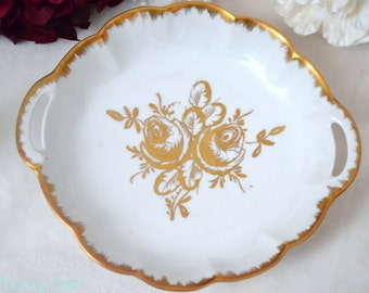 Golden Rose Limoges Porcelain Round Handled Plate With Heavy Gold Decoration, Birks Pattern Line, Replacement China, ca. 1960-1970