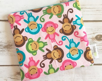 Reusable Snack Bag ~ Sandwich Size ~ Reusable Lunch Bag ~ Eco Friendly ~ Water Resistant ~ Zipper Pouch in Zoologie Monkey's Spring