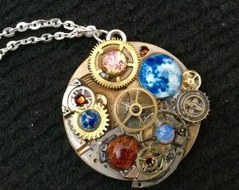 Steampunk Clockwork Orrery Style Pendant