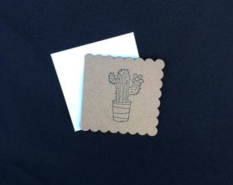Cactus hand stamped mini kraft card stationery set