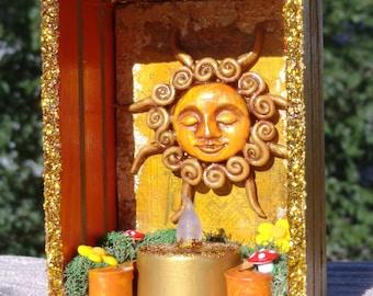 Small Sun Shrine.  Solar Shrine.  Mini Altar.  Mini Shrine.  Mini Nicho. Winter Solstice. Yule. Shadow Box. Litha. Sumer Solstice.