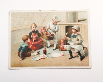 "Antique German Victorian Trade Card 1848 ""Manufactory of preserved provisions"" Mostly Written in German on Back"
