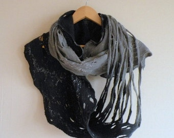 SALE Infinity scarf - felted wool navy blue grey Circle scarf - necklace