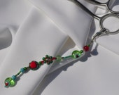 Beaded Dangle for Rug Hooking Scissors with Hearts