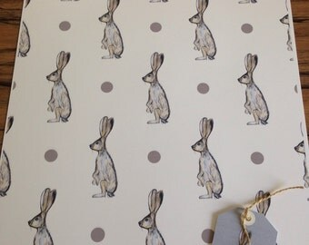 Hare wrapping paper,gift wrap,hares, for hare lovers