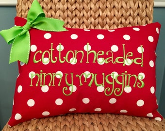 Christmas embroidered pillow cover Cotton Headed Ninny Muggins