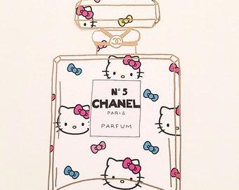 Chanel Bottle Art | Stationary | Wall Art | Wall Decor | Chanel Art